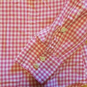 J. Crew Tops - J Crew hot pink & white gingham button down